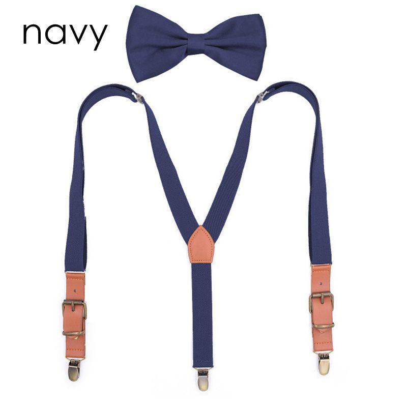 Yienws Bretelles Adultes Bow Tie Suspenders For Men Women Vintage Pu Patch Suspenders Pants Braces Butterfly Suspenders YiA098