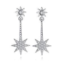 Женские серьги гвоздики с кристаллами посеребренные