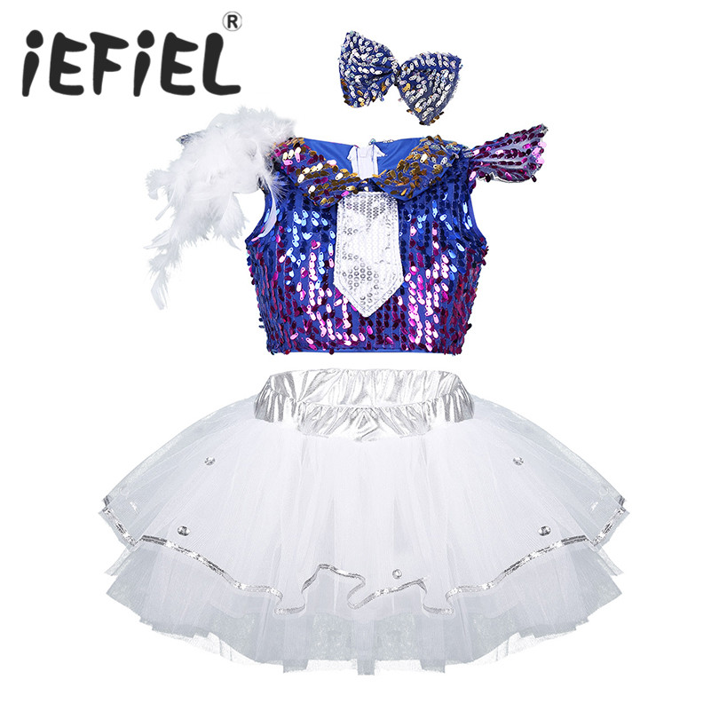 Sequins Kids Girls Child Modern Jazz Salsa Dance Outfit Shiny Crop Top with Mesh Tutu Dress Hair Clip Set for Stage Performance