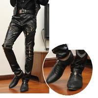 Zipper Stitching Tight Black Faux Leather Pants For Motorcycle Young Mens Casual Multi Pockets Mens Pants Cargo Hip Hop Dance