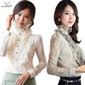 New Ruffles women's blouse OL elegant lace chiffon shirt Stand collar hollow long sleeve tops plus size fashion clothing