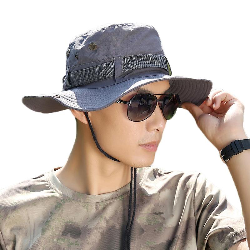 342c2b6d286 2019 Fashion Men Sun Hats Fashion Summer Beach Fisherman Hats Outdoor Anti  UV Sun Protection Bucket Hat Holiday Sun Caps for Men-in Sun Hats from  Apparel ...