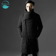 LinenAll men #8217 s clothing turtleneck down outerwear male winter thickening thermal down overcoat male medium-long down coat QF cheap Down Parkas Wide-waisted Casual White duck down Stand COTTON REGULAR Solid Horn Button Pockets Thick (Winter) Natural Color