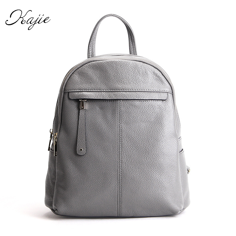 Kajie Women Feminine Backpack Genuine Leather Bags Famous Brand Small For Teenage Girls Fashion  Female Mochila Casual Backpacks kajie pu skin leather large capacity student fashion women backpacks for teenage girls sac a dos travel feminine bag mochila