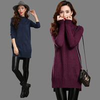 Free Shipping Autumn Winter Women Half Turtleneck Thick Long Knitted Sweater Long Sleeve Loose Plus Size