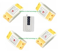 220V Wireless Remote Control Switch System 4 Receiver 1 Transmitter Smart Home Learning Code Adjustable 315