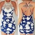 2016 Summer Women dress New Design Casual Print Sleeveless Hollow Out floral print Bohemian Beach Mini Dresses vestidos