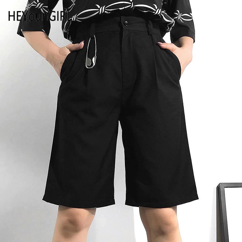 HEYounGIRL Black Casual Knee Length   Pants     Capris   Elegant High Waist Short   Pants   Women Korean Cropped Ladies Trousers Summer 2019