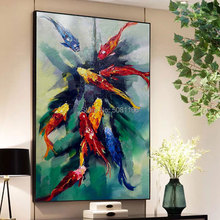Hand painted Chinese Abstract Koi Fish Oil Painting on Canvas green Feng Shui Wall Art fish Picture For Living Room Asile decor