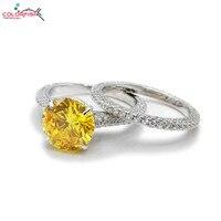 COLORFISH серебро 925 пробы Помолвочное с солитёром кольцо установить Классический изделия круглая огранка 3ct желтый камень CZ Для женщин набор ко