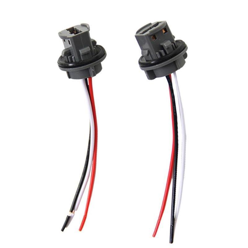 2pcs T20 7443 Car Bulb Holder Lamp 12V Socket Adapter LED Side Light Connector High Heat Resistant Copper Wire
