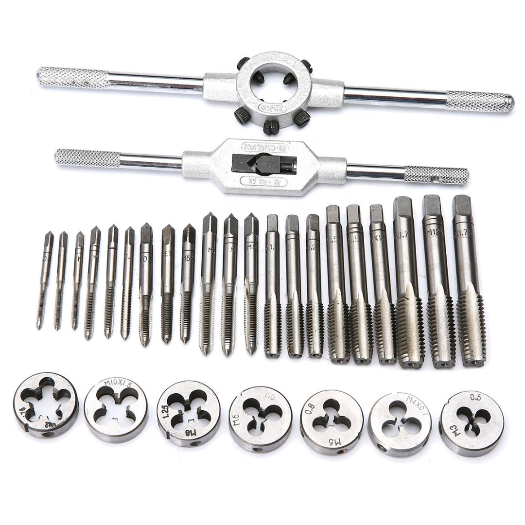 32Pcs M3-M12 Metric Tap and Die Set Mechanic Die Tap Wrench Screw Pitch Gauge Hand Tool Set 60pcs set tap and die set m3 m12 screw thread metric plugs taps