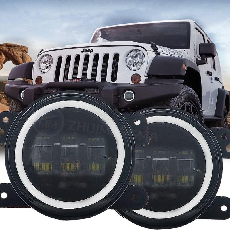 4 Inch 30W LED Fog Light High LED Fog Lamp Auto DRL Lighting LED Headlamp With Angle Eyes For Jeep Wrangler JK 07~14 Fog Lamps car light headlight bulb auto h3 led chip lamp 30w 6000k headlamp for audi q5 freelander wrangler infiniti lexus mitsubishi lada
