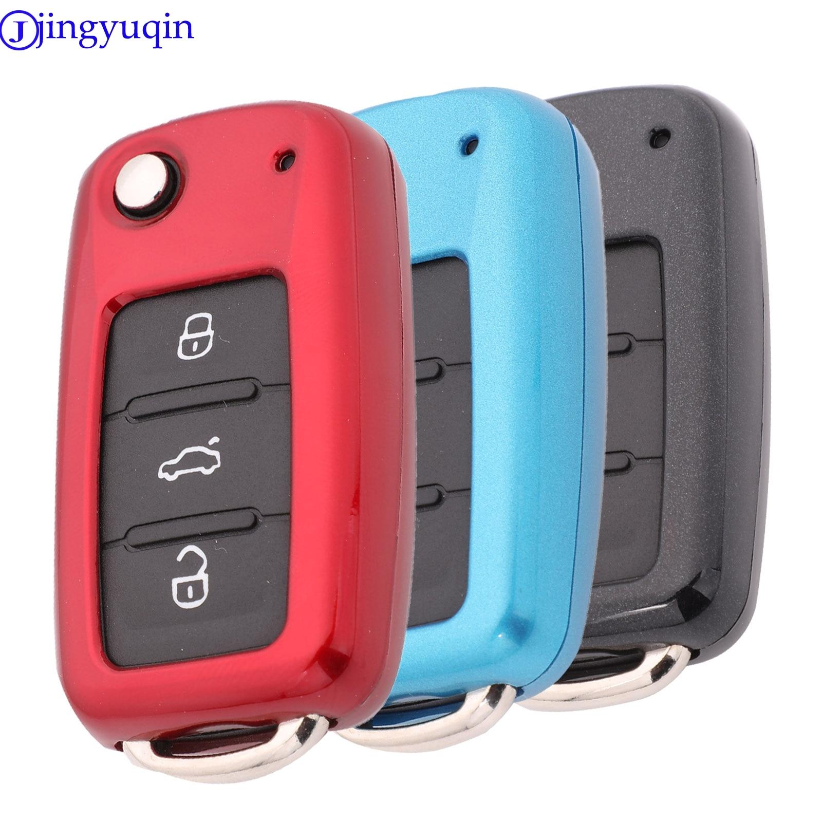 Jingyuqin Car Key Cover Case For VW Golf Bora Jetta POLO GOLF Passat For Skoda Octavia A5 Fabia For SEAT Ibiza Leon