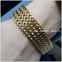 21.5cm*20mm Free Shipping 316L Stainless Steel Yellow Gold Wheat Chain Heavy Bracelet Bangle For Men Boy Jewelry,High Quality