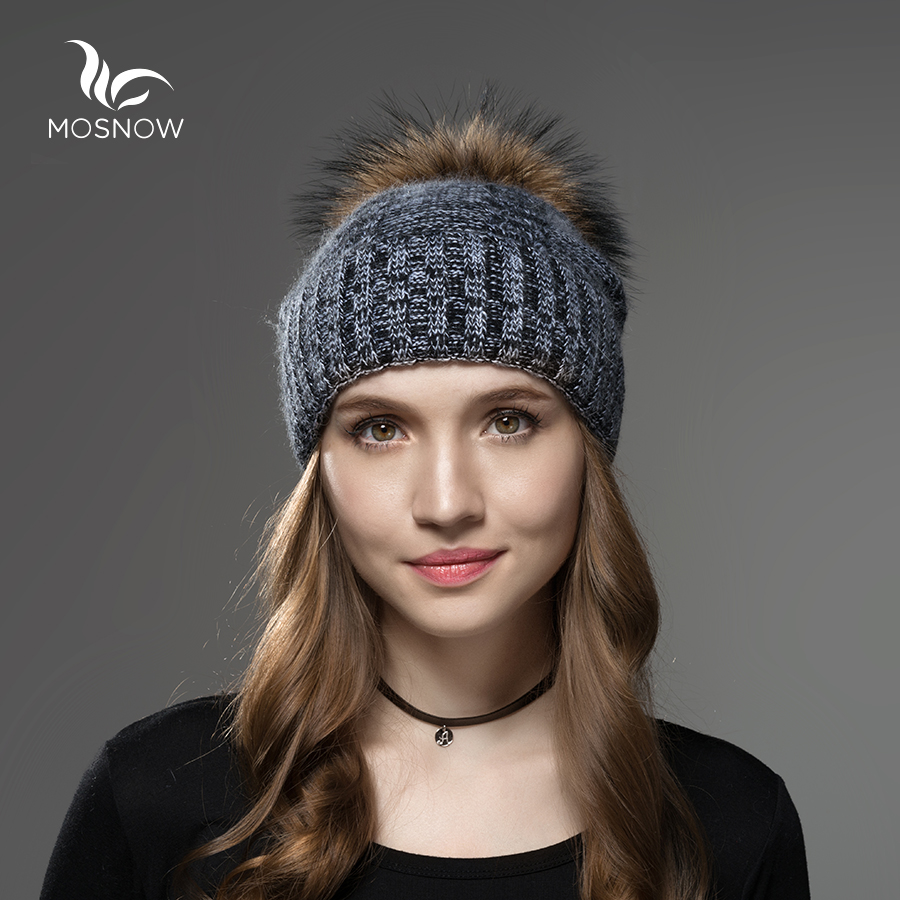 Mosnow 2016 New Wool Raccoon Fur Pom Poms Hat Female Brand Casual Vogue Knitted Women'S Warm Winter Hats Skullies Beanies