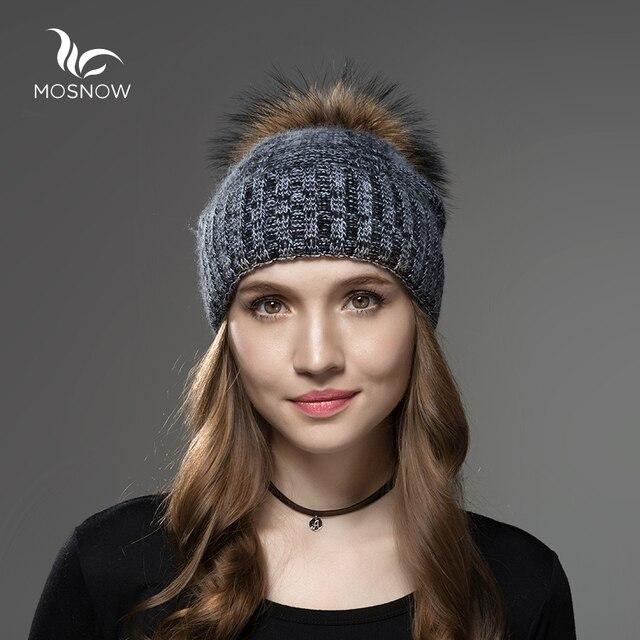 Mosnow 2016 Nueva Mapache Pompones De Piel de Lana Sombrero de Mujer Marca Casual Vogue Mujeres Calientes Sombreros de Invierno Skullies Gorros de Punto