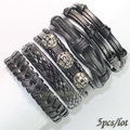 FL70-free shipping (5pcs/lot) high quality heavy metal rock genuine leather bracelet ethnic handmade wrap charm