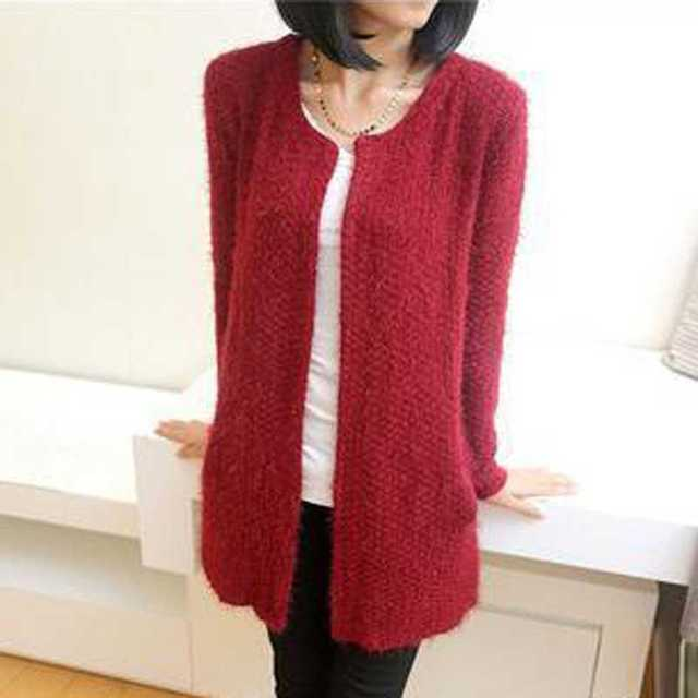 Celebrity Fashion Ladies Mohair Cardigan Sweater Womens Sweater Long