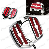 Motorcycle Chrome Red Lighted Passenger Footrest Floorboard Cover Kit For Harley Softail Harley Trike Dyna