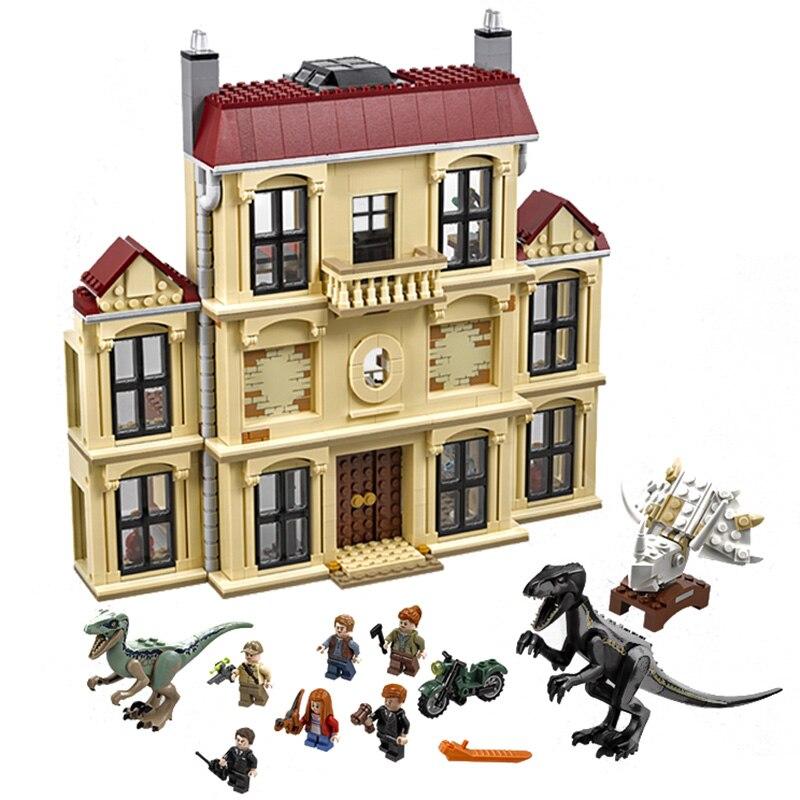 Legoing jurajski świat 75930 dinozaur Indoraptor Rampage Model klocki 1019 kawałek cegły chłopcy prezenty urodzinowe zabawki w Klocki od Zabawki i hobby na  Grupa 1