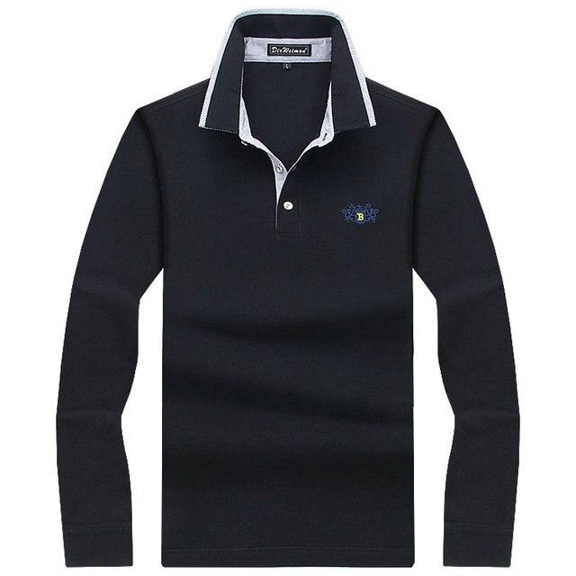 97064cfcd6 Hombres Polo Camisa manga larga Hombre sólido Polo Camisa Polos Masculina  Casual 2018 algodón tamaño S