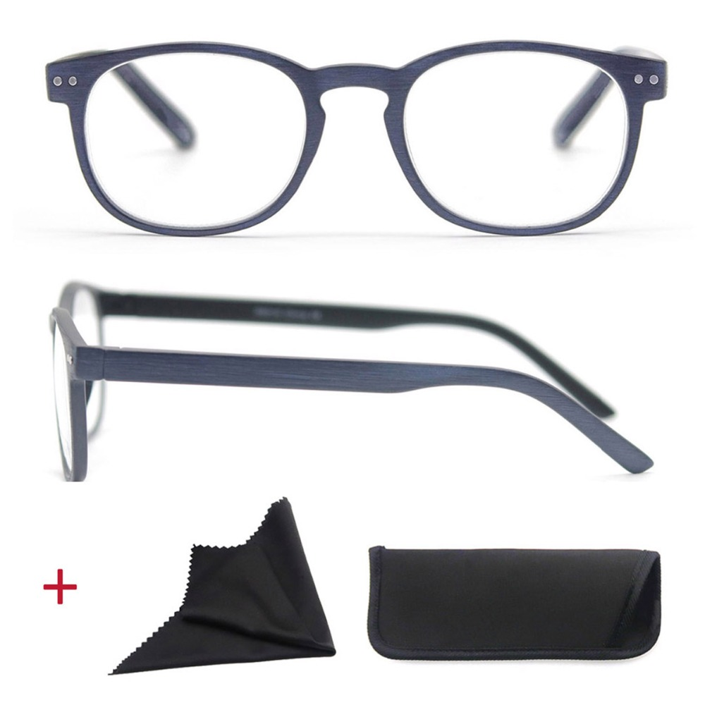 Round Reading Glasses Men Women Wood Look Frame Unisex Eyeglasses Vintage Spring Hinge Diopter 1 1.25 1.5 1.75 2 2.25 2.5 3 3.5