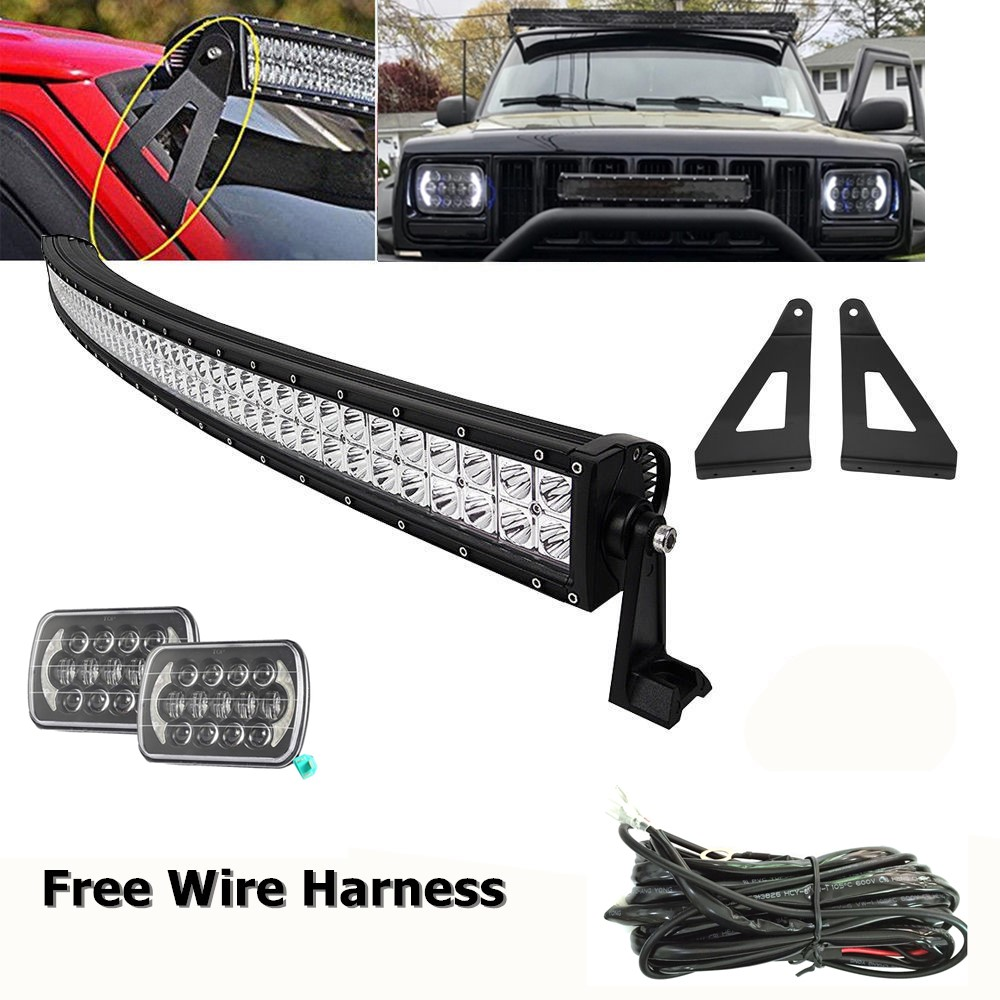 White DRL 6X7 Headlight W/Upper Roof 50inch Curved LED Work Light Bar/Led Bar Mounting Bracket For 84 01 Jeep Cherokee XJ