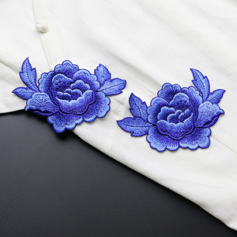 1PCS Rose Peony Flower Patch Ասեղնագործված հագուստի գործիքներ կարի կտորներ հագուստի վրա Cheongsam հարսանյաց զգեստի պարագաներ 12 * 8.5 սմ