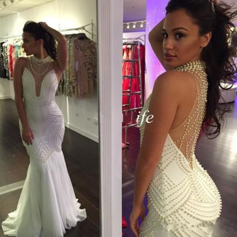 White   Evening     Dress   Long 2019 Mermaid Full Pearls Sexy Backless Prom   Dress   Formal Party Gown Robe De Soiree Abendkleider