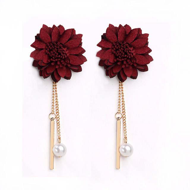 be17f0c87778 Flor Negro Perla Simulada Borla Pendientes Largos Para Las Mujeres de  Joyería de Moda Del Vino Rojo 3 Colores Al Por Mayor