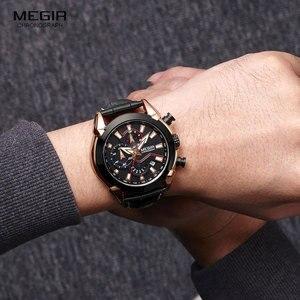 Image 5 - MEGIR גברים של אופנה ספורט קוורץ שעונים עור עמיד למים זוהר הכרונוגרף שעוני יד שעון Relogios Masculino 2065 עלה
