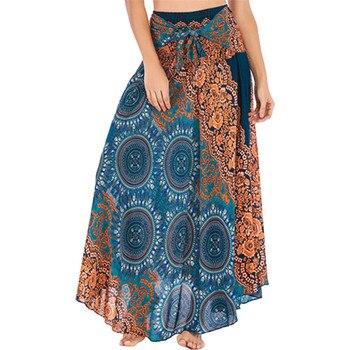 womens skirts long ruffle 2019 Skirt Women Long Hippie Bohemian Gypsy Boho Flowers Elastic Waist Floral Skirt Юбка