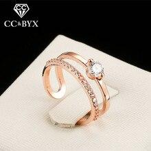 CC Jewelry Ring For Women Fashion Jewelry Classic Design Open Champagne Gold-Color Bride