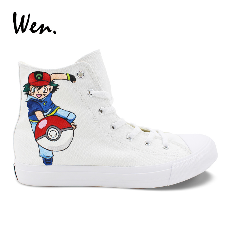 Wen High Top White Canvas Shoes Ash Pokemon Hand Painted Shoes Boys Girls Sneakers Wrapping Foot Espadrilles Flat Plimsolls