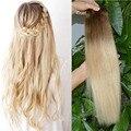 Ombre Блондинка Клип В Человеческих Волос 120 Г Ломбер Бразильские Человеческие Наращивание волос Ломбер Клип В Волос для белых женщин Полная Голова