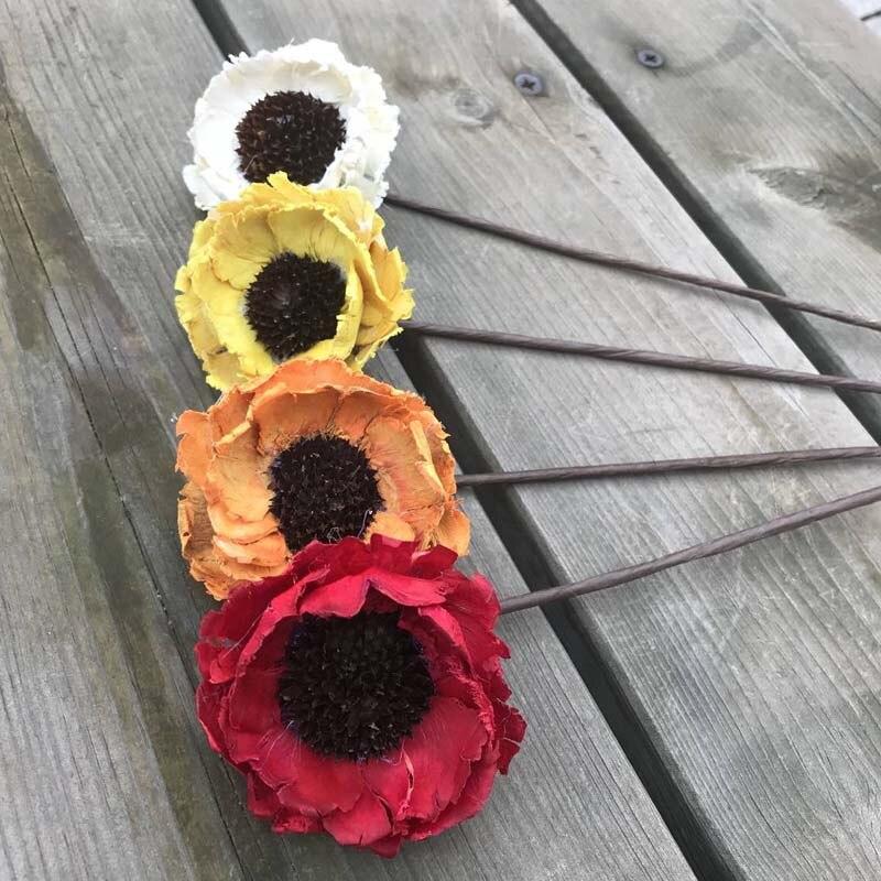 6 Centimetri Testa Reale Naturale Fiori Secchi Di Mais Artificiale Fiore Di Papavero, Decorativo Eternelle Rose Per Sempre Di Girasole Con Gambo Filo A Tutti I Costi