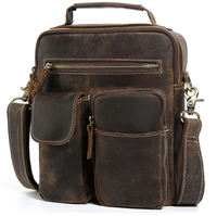 Cowhide Crazy Horse Leather Leather Satchel Cross Body Bag Vintage Style Small Tote Handbag Men Large