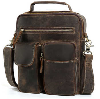 men's Cowhide crazy horse leather Satchel Cross body Bag male Vintage Style Small Tote Handbag Men Large Purse  Messenger Bags - DISCOUNT ITEM  0% OFF All Category