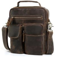 men's Cowhide crazy horse leather Satchel Cross body Bag male Vintage Style Small Tote Handbag Men Large Purse Messenger Bags
