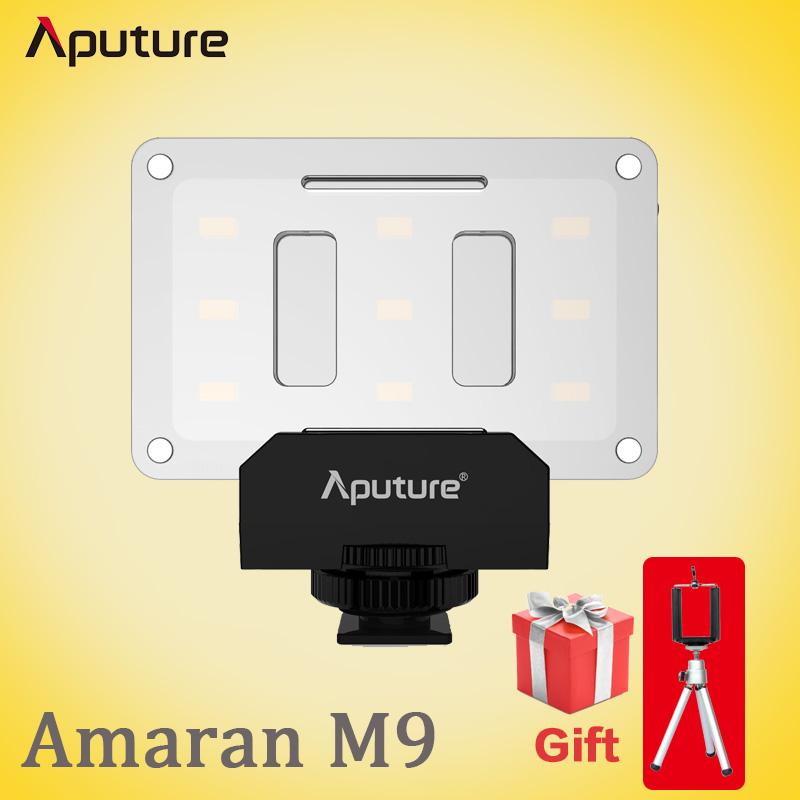 Prix pour Aputure Amaran M9 Poche sized Tiny LED Remplir Vidéo Lumière/Rechargeable Construit dans La Batterie avec 9 pcs SMD lumières DSLR AL-M9