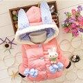 Nova Meninas Do Bebê Jaqueta de Inverno Coelho Dos Desenhos Animados Meninas Crianças Casaco Com Capuz de Algodão Manter Quente Outwear Roupa Dos Miúdos Roupas