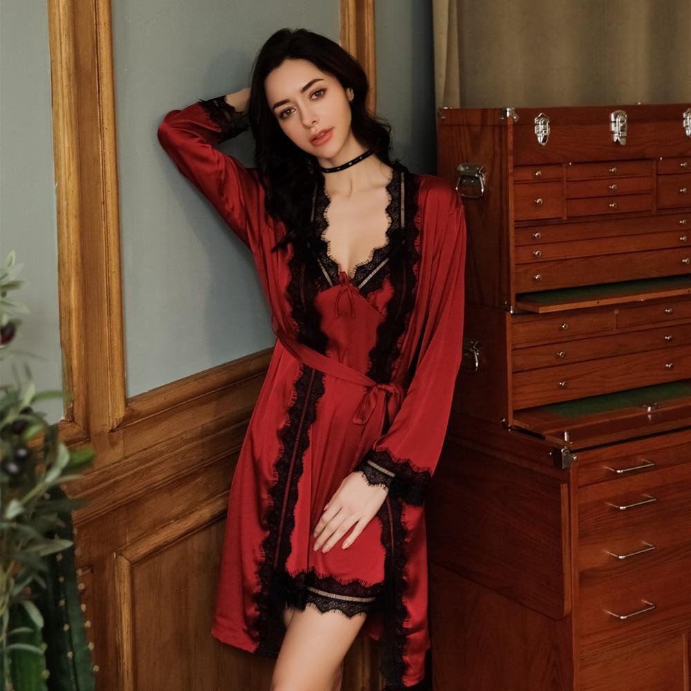 2 Pcs Robe Dessous Sexy Seide Schlaf Set Slik Robe Frauen Robe Set 9643