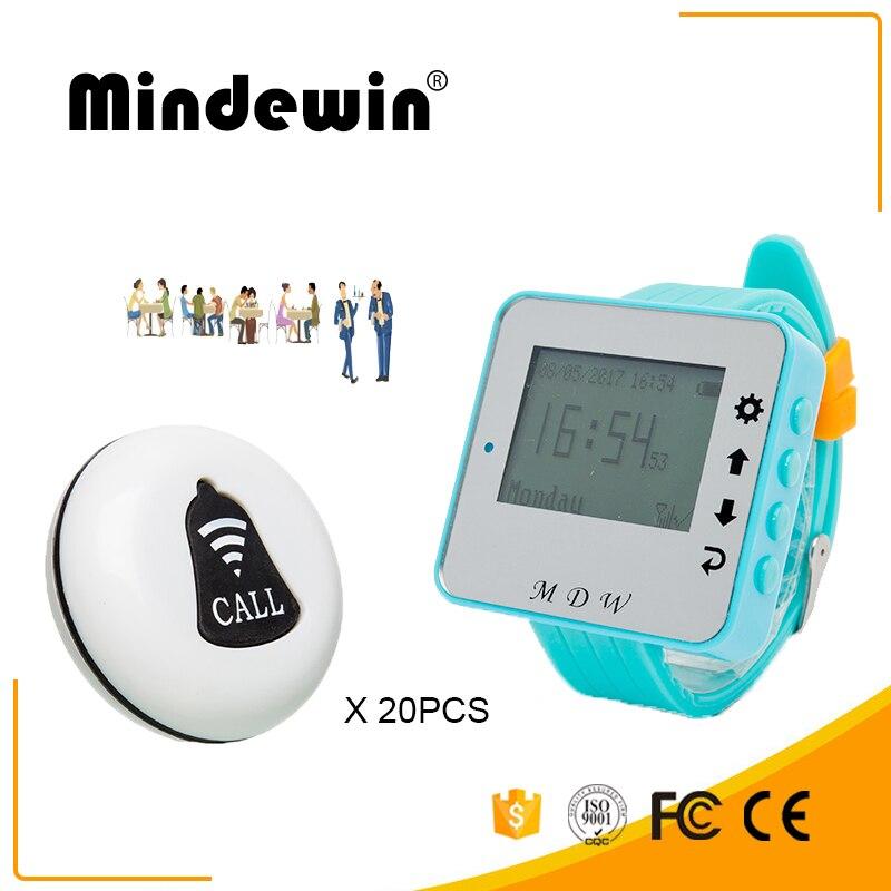 Mindewin sans fil serveur appelant système de cloche 20 pièces Service appel bouton M-K-1 + 1 pièces regarder téléavertisseur M-W-1 Restaurant Buzzer système