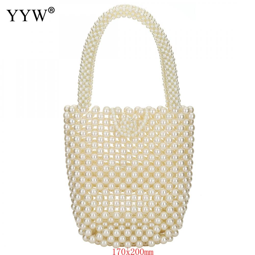 Pearls Bag Beaded Purse Totes Bag Women Party White Glass Pearl Handbag Hollow 2019 Summer Luxury Beach Black Small Bags Hot in Top Handle Bags from Luggage Bags