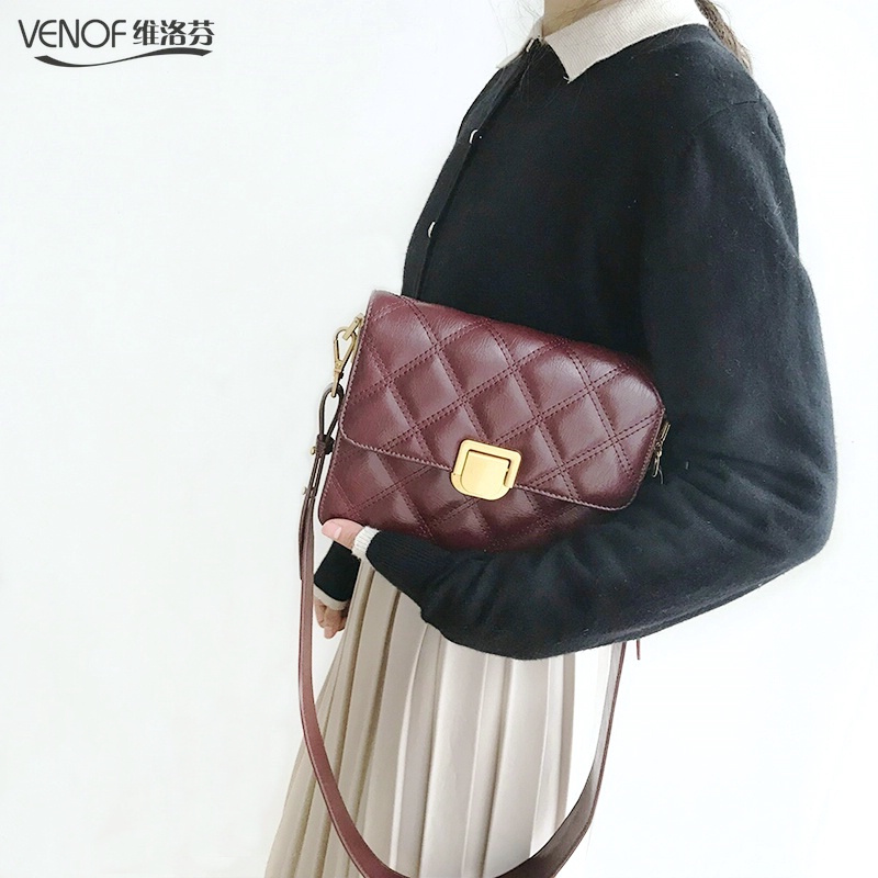 VENOF fashion wide straps split leather crossbody bags for women diamond pattern flap bags elegant ladies