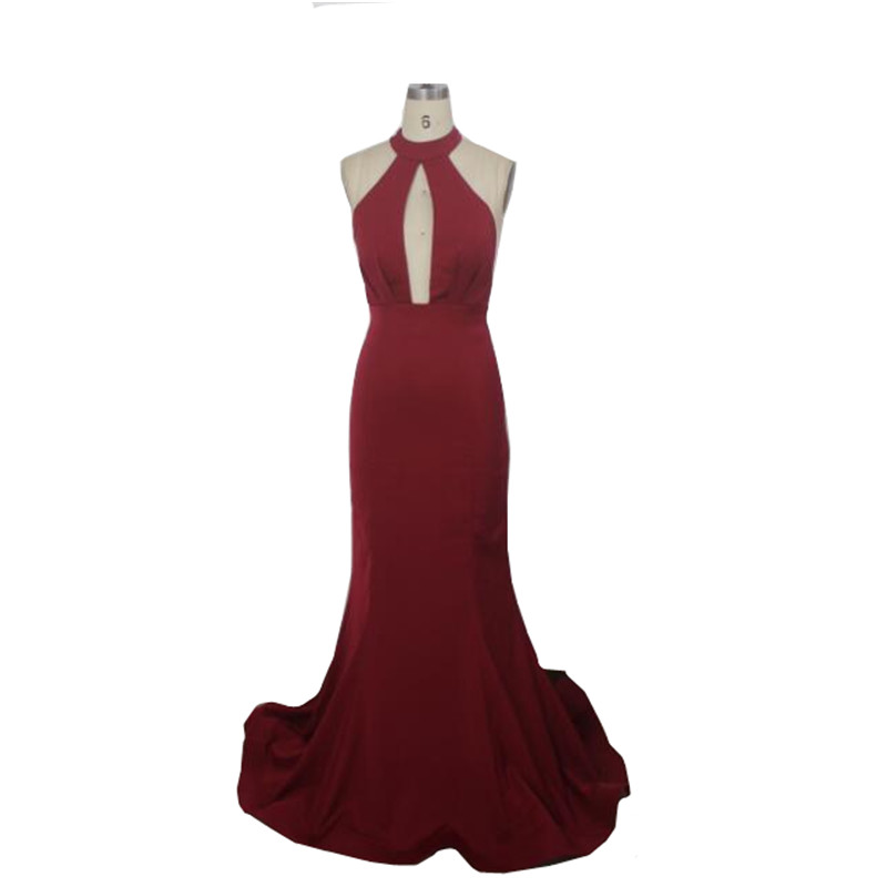 a85d6f9a61 MDBRIDAL Backless Prom Dress in Burgundy color Mermaid Shape Halter Top  Sexy Women Evening Dress-in Prom Dresses from Weddings   Events on  Aliexpress.com ...