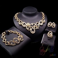 wholesale gold color jewelry set crystal jewelry sets cheap jewelry alloy gold color pendant