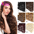 Clip In Human Hair Extensions 7Pcs Full Head Brazilian Body Wave Clip In Hair Extensions 100% Remy Hair clips In/on Human Hair
