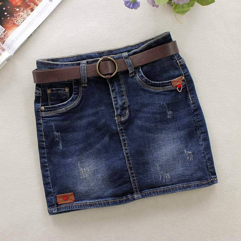 2019 Summer Dark Blue Jeans Skirts Womens Bleached Skinny Pencil Skirts Pattern Cotton Above Knee Mini Shorts Denim Skirts 29061